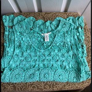 BOHO Crocheted Aqua Color Maxi Dress MEDIUM NWOT